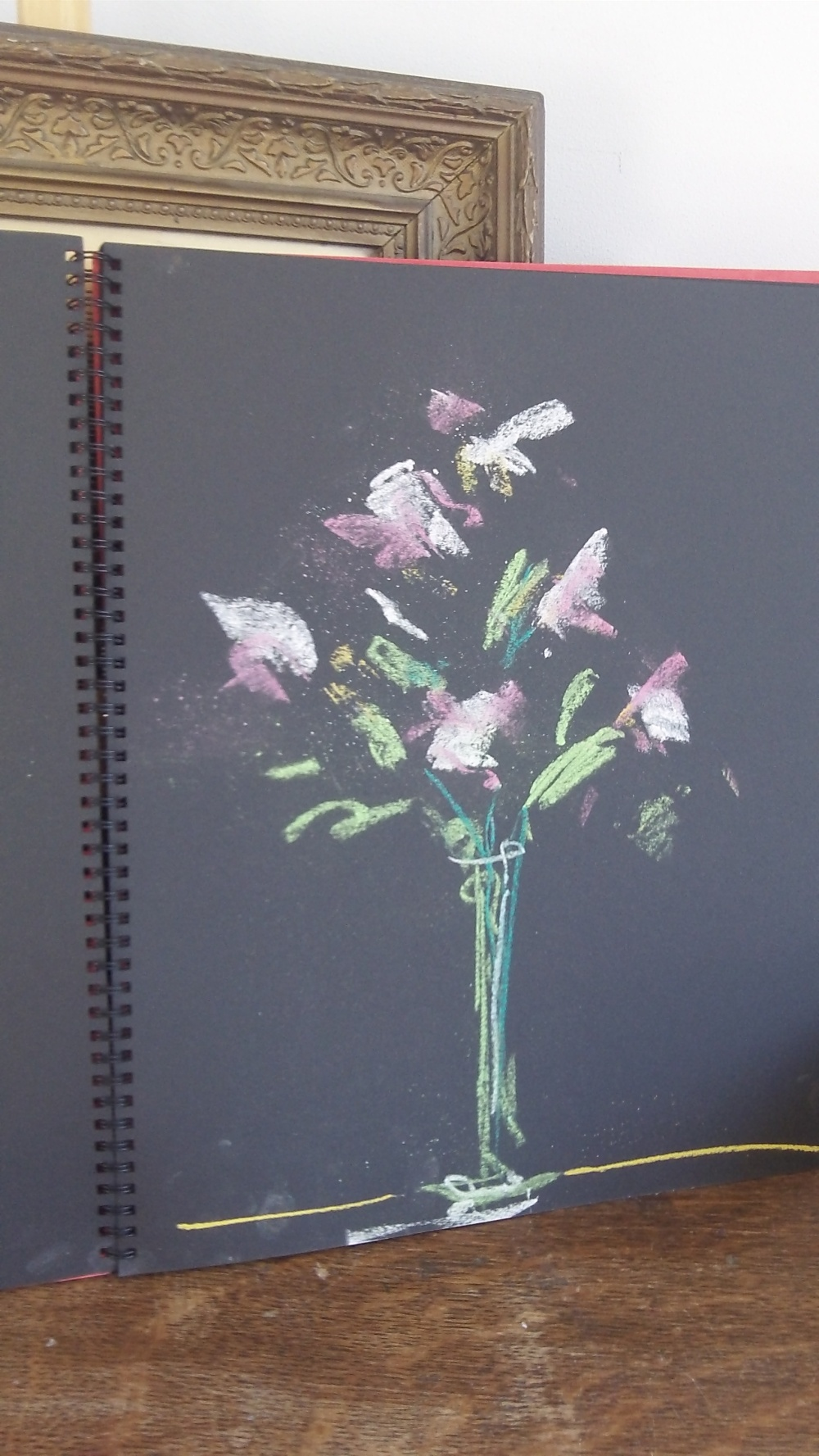 unframed 2 minute pastel sketch  in pink and green